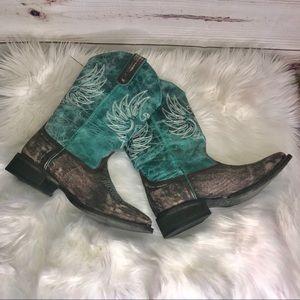 Roper Woman's Green Phoenix Cowgirl Boots 7 NWOT